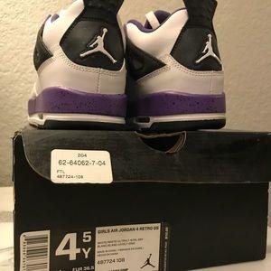 Purple and white Air Jordan 4 Retro GS